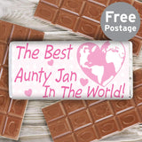 Personalised Pink Best in the World Milk Chocolate Bar