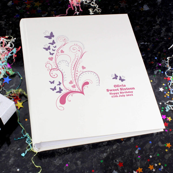 Personalised Pink Butterfly Swirl Traditional Album
