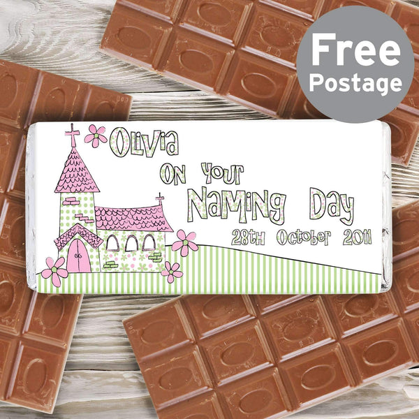 Personalised Pink Church Milk Chocolate Bar