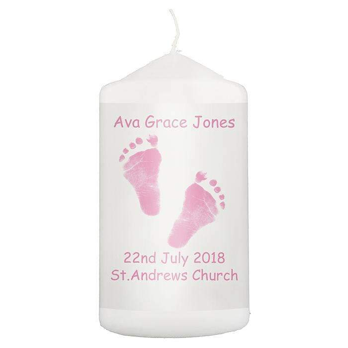 Personalised Pink Footprints Candle Memento