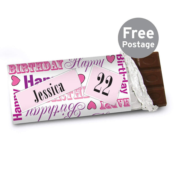 Personalised Pink Happy Birthday Milk Chocolate Bar