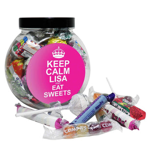 Personalised Pink Round Keep Calm Sweet Jar