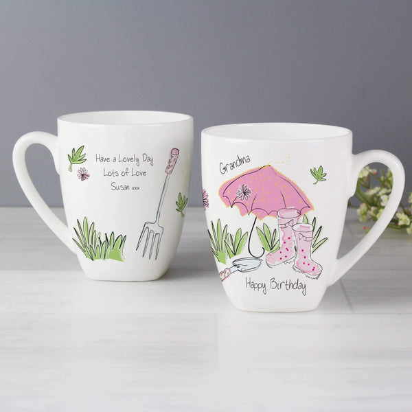 Personalised Pink Umbrella Latte Mug