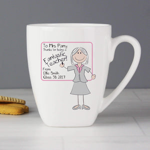 Personalised Pink Whiteboard Teacher Latte Mug
