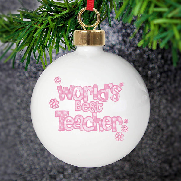 Personalised Pink Worlds Best Teacher Bauble