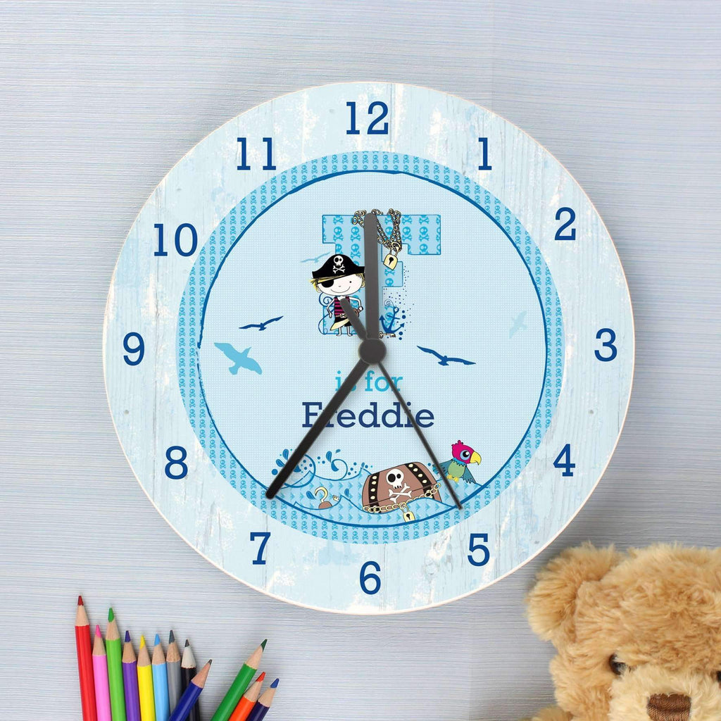Personalised Pirate Shabby Chic Large Wooden Clock Memento