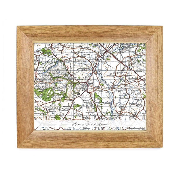 Personalised Postcode Map Wooden 10x8 Photo Frame - New Popular Edition With Message