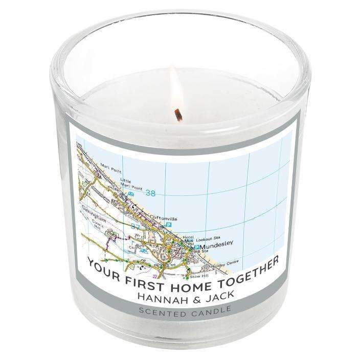 Personalised Present Day Map Compass Scented Jar Candle Candle Memento