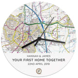 Personalised Present Day Map Compass Wooden Clock