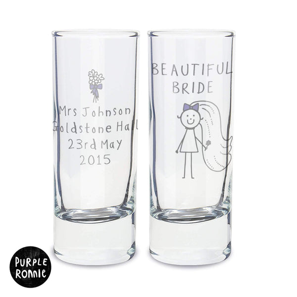 Personalised Purple Ronnie Bride Shot Glass