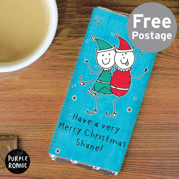 Personalised Purple Ronnie Christmas Elves Milk Chocolate Bar