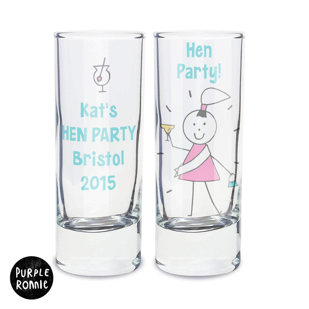 Personalised Purple Ronnie Hen Shot Glass