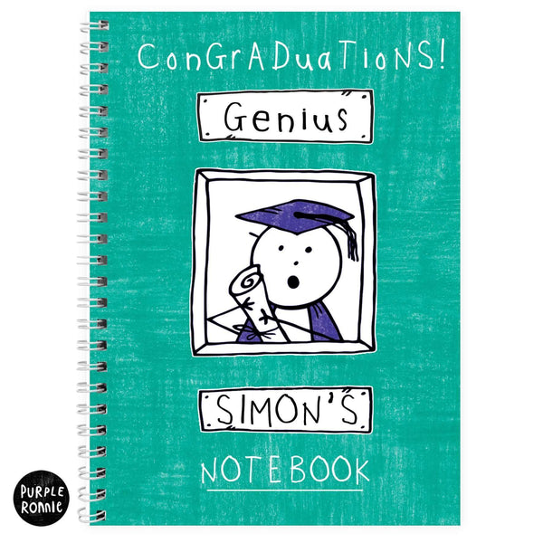Personalised Purple Ronnie Male Graduation A5 Notebook