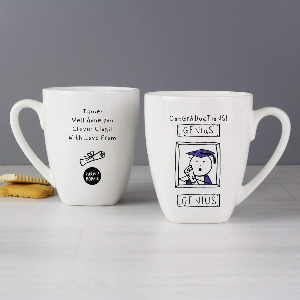 Personalised Purple Ronnie Male Graduation Latte Mug
