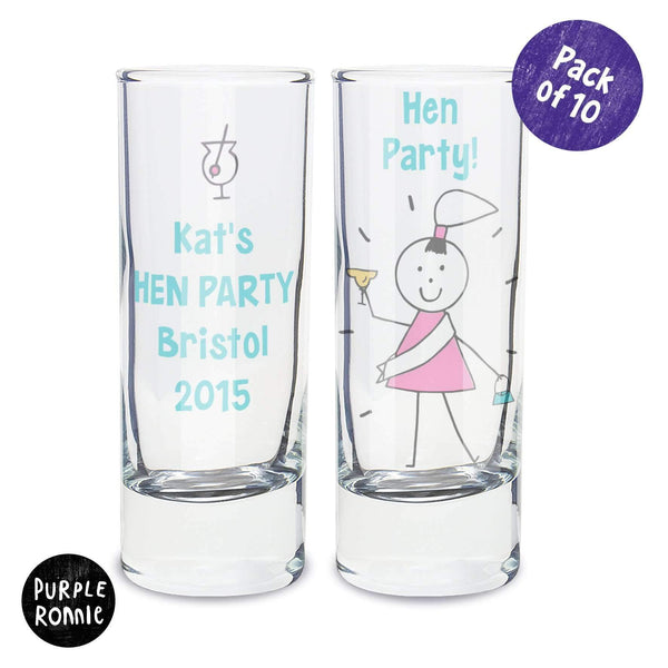 Personalised Purple Ronnie Pack of 10 Hen Shot Glasses