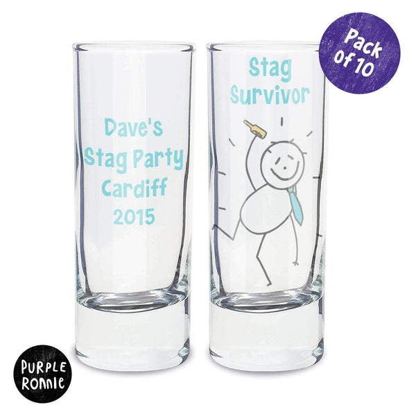 Personalised Purple Ronnie Pack of 10 Stag Shot Glasses