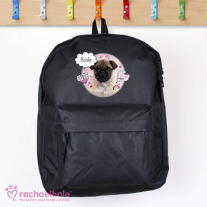 Personalised Rachael Hale Doodle Pug Black Backpack