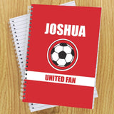 Personalised Red Football Fan A5 Notebook Memento