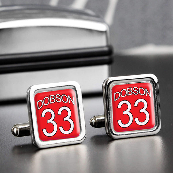 Personalised Red Football Shirt Cufflinks