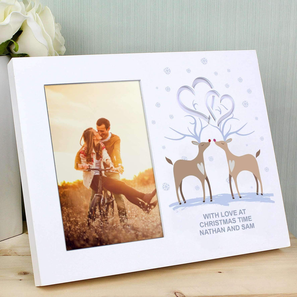 Personalised Reindeer Couple Hearts 4x6 Light Up Frame Memento