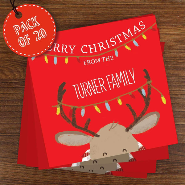 Personalised Retro Reindeer Pack of 20 Christmas Cards