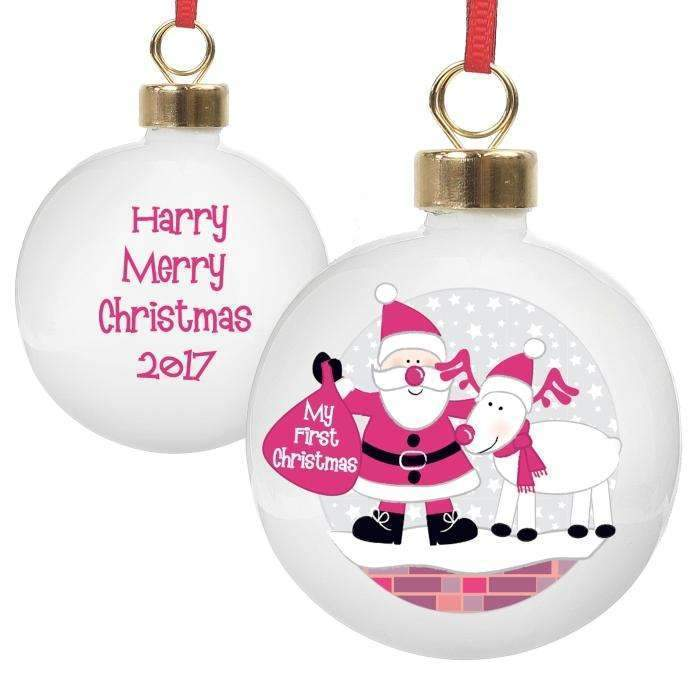 Personalised Rooftop Santa First Christmas Bauble