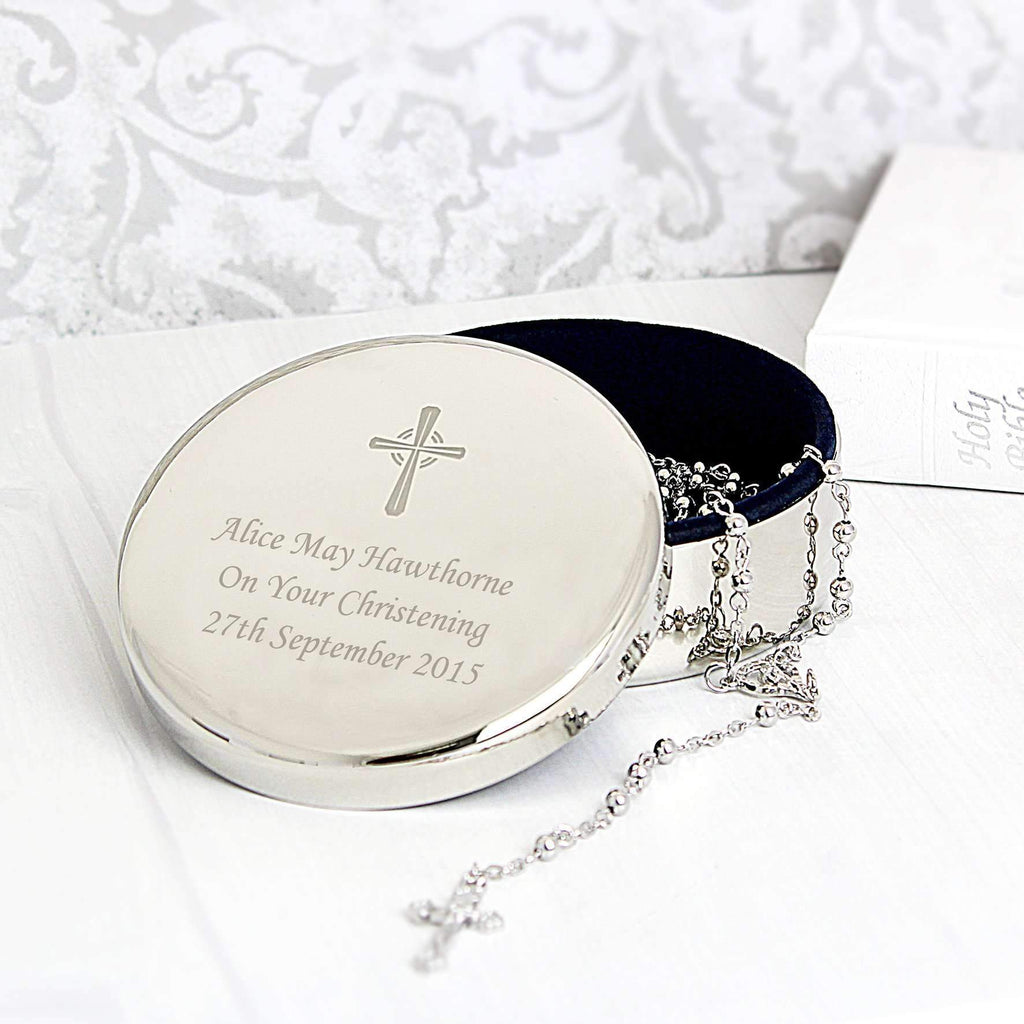 Personalised Rosary Beads and Cross Round Trinket Box Memento