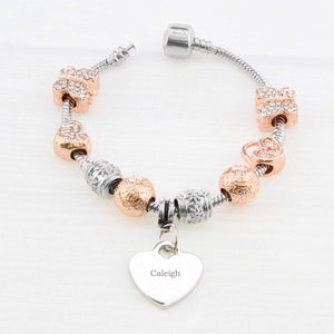 Personalised Rose Gold Charm Bracelet - 18cm