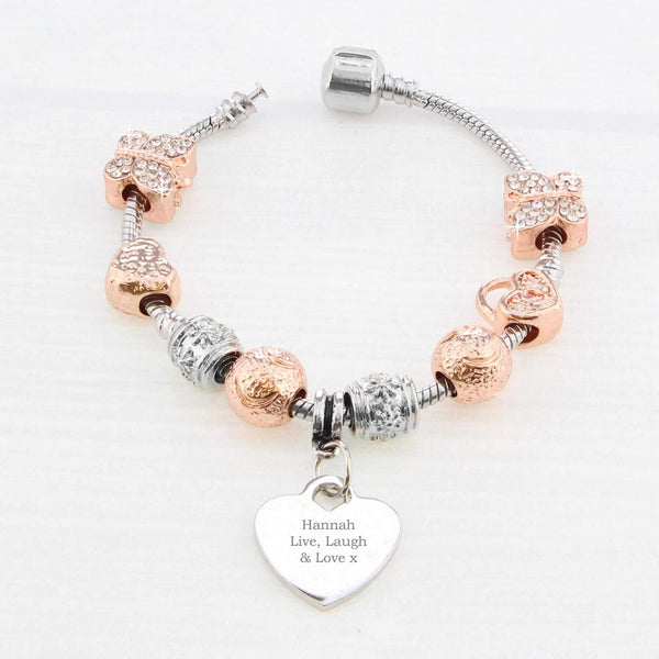 Personalised Rose Gold Charm Bracelet - Any Message - 18cm