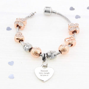 Personalised Rose Gold Charm Bracelet - Any Message - 21cm