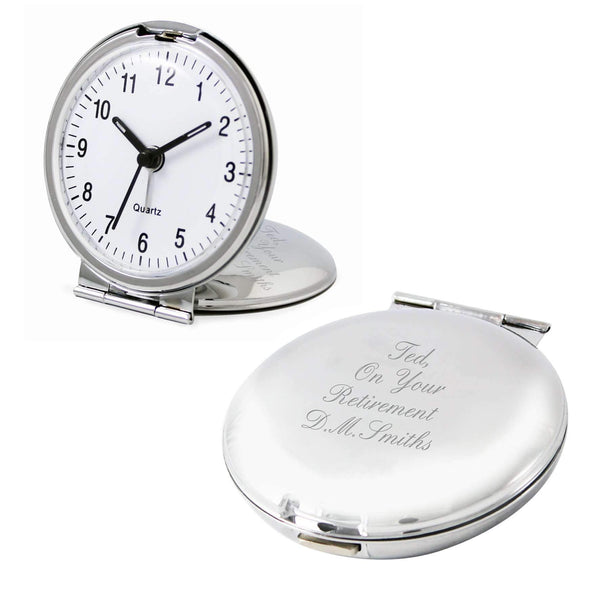 Personalised Round Travel Clock