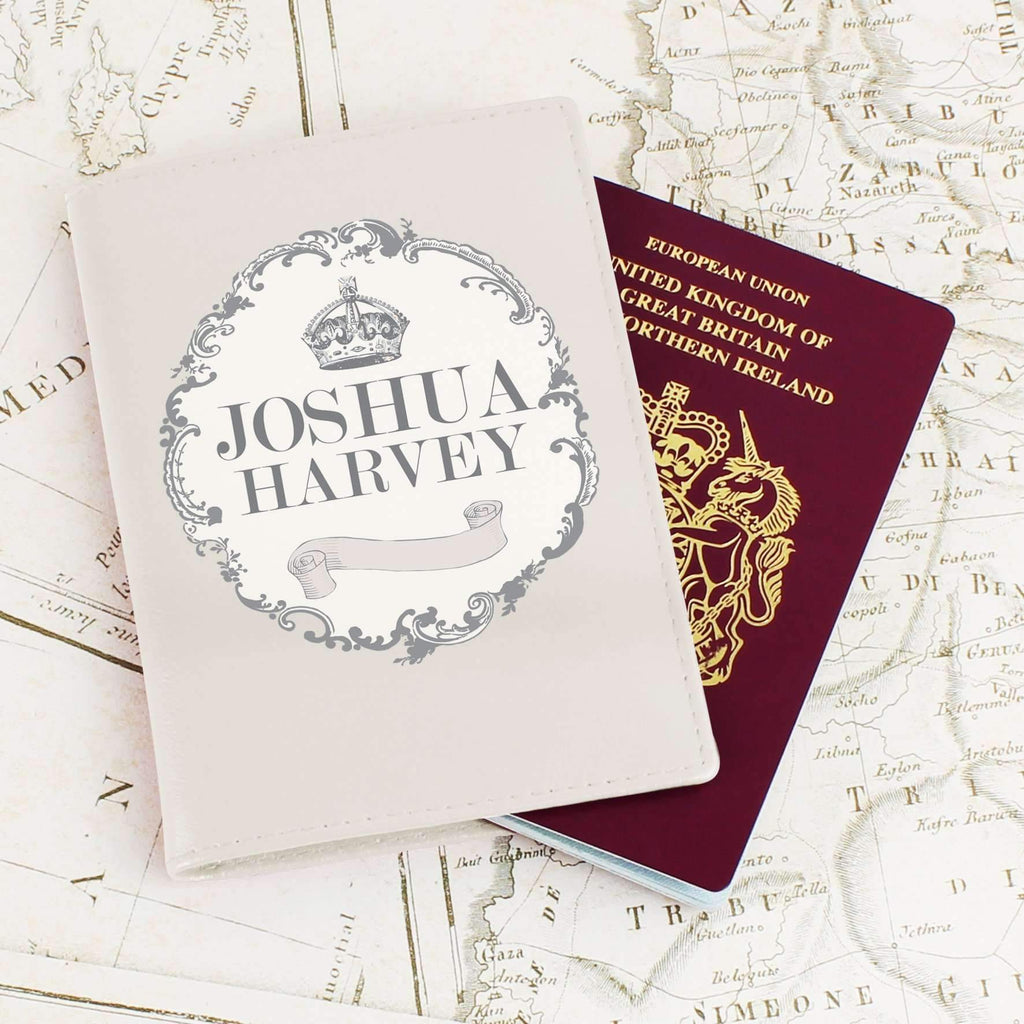 Personalised Royal Crown Cream Passport Holder