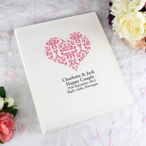 Personalised Ruby Damask Heart Traditional Album