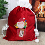 Personalised Santa Claus Luxury Pom Pom Sack