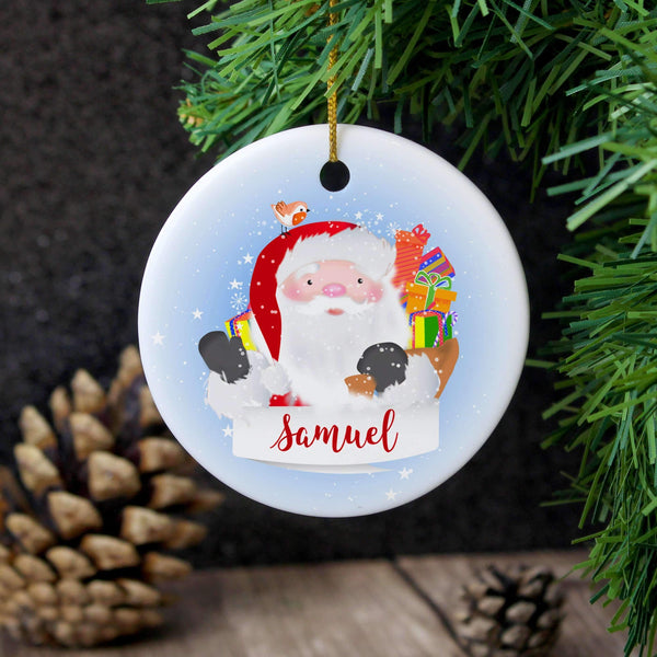 Personalised Santa Claus Round Ceramic Decoration