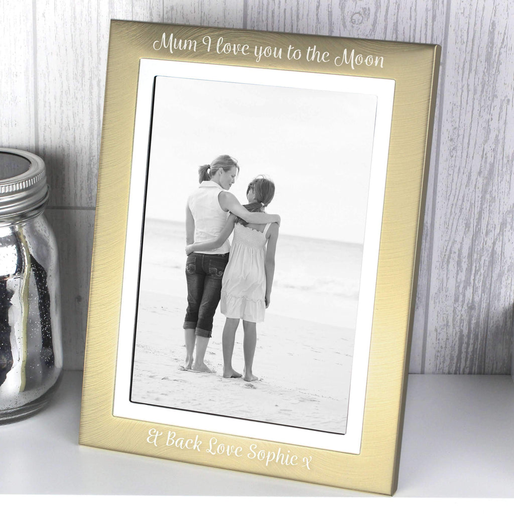 Personalised Scripted Gold and Silver Brushed 5x7 Photo Frame Memento