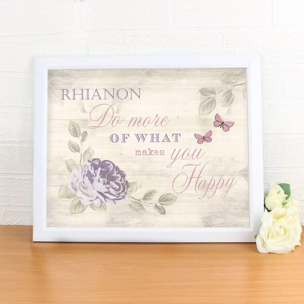 Personalised Secret Garden Poster White Frame