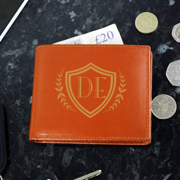Personalised Shield Tan Leather Wallet