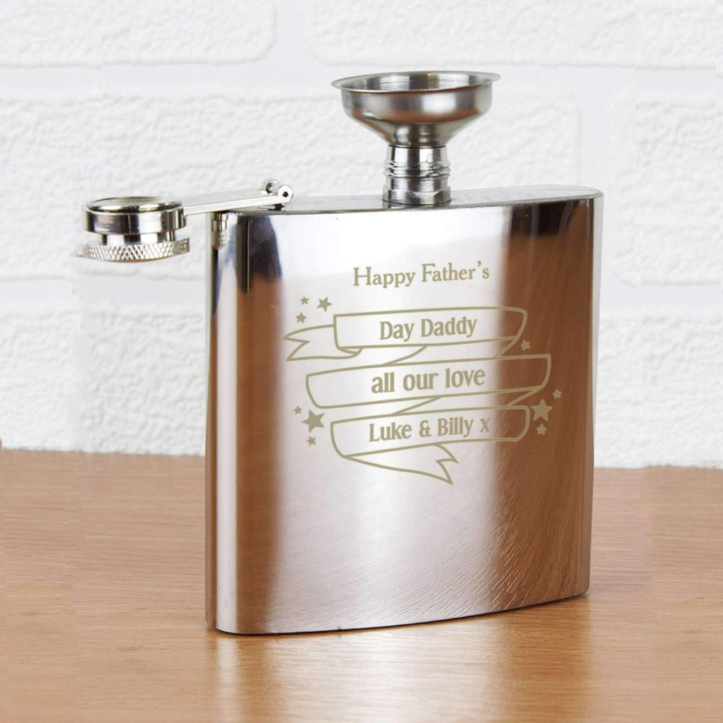 Personalised Shining Star Hip Flask Memento