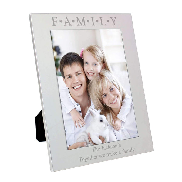 Personalised Silver 5x7 Family & Hearts Photo Frame