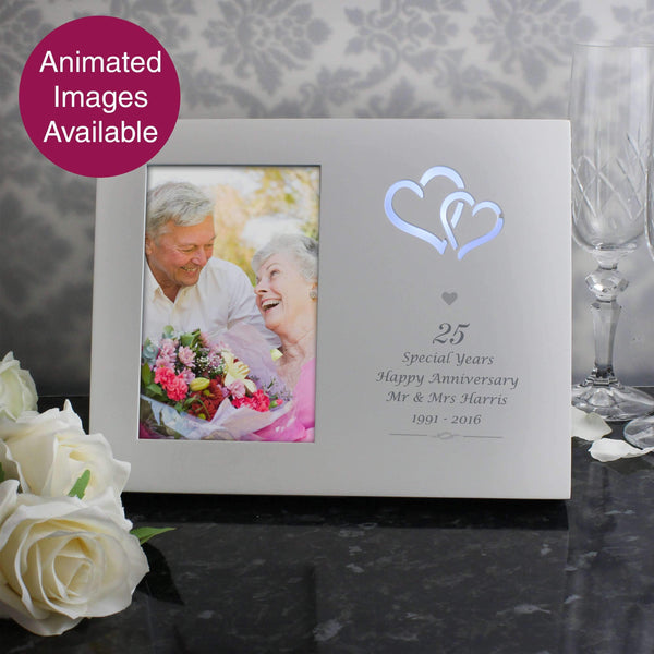 Personalised Silver Hearts 4x6 Light Up Frame