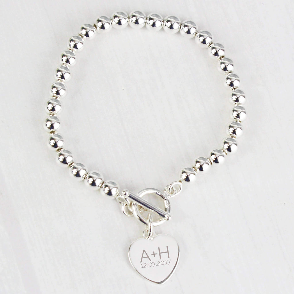 Personalised Silver Plated 'Initials and Date' Heart T-Bar Bracelet Memento