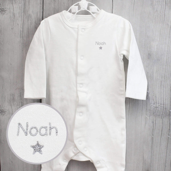 Personalised Silver Star 6-9 Months Babygrow