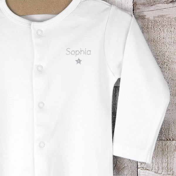 Personalised Silver Star 9-12 Months Babygrow