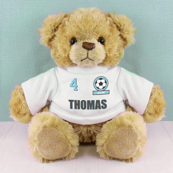 Personalised Sky Blue Football Fan T-Shirt Message Bear