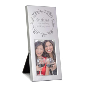 Personalised Small Silver Butterfly Swirl 2x3 Photo Frame