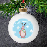 Personalised Snow Scene Rudolph Bauble