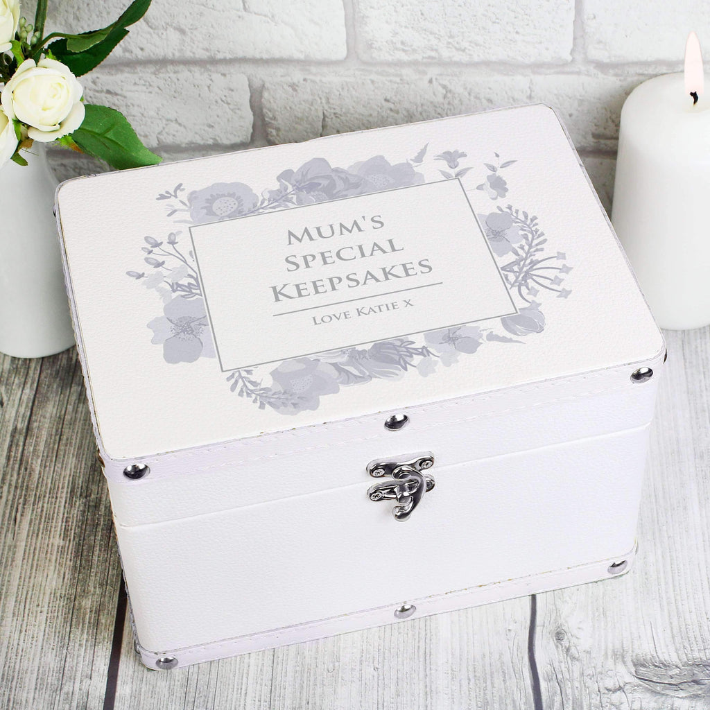 Personalised Soft Watercolour White Leatherette Keepsake Box Memento