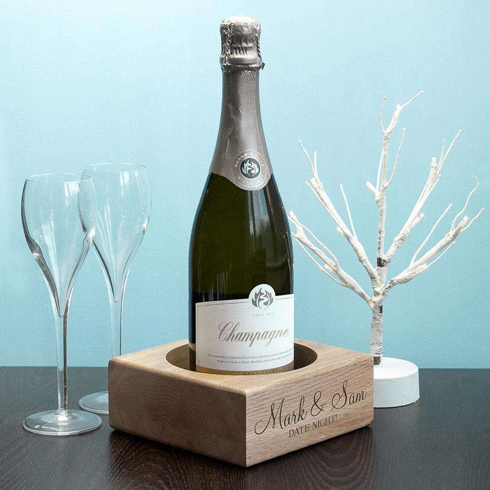 Personalised Solid Oak Champagne Holder