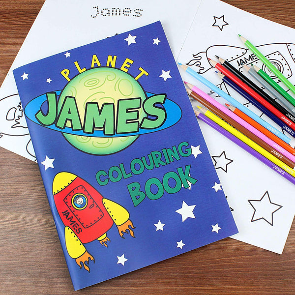 Personalised Space Colouring Book with Pencil Crayons